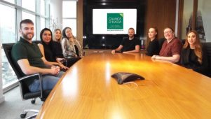 The Caunce O'Hara Schemes team sat around a boardroom table.