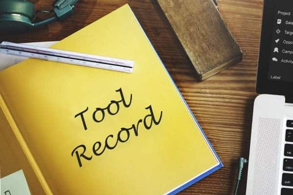 Yellow tool record book - tool insurance