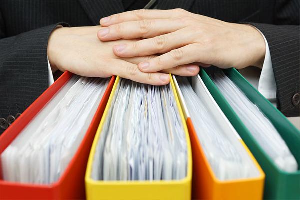 Contractor paperwork in files