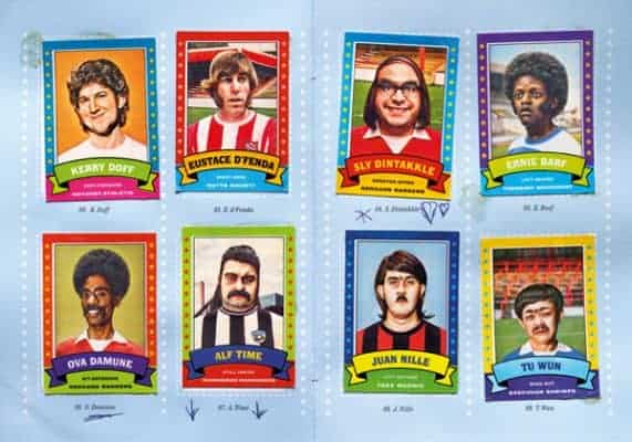 A series of eight football cards designed by Kate Henderson